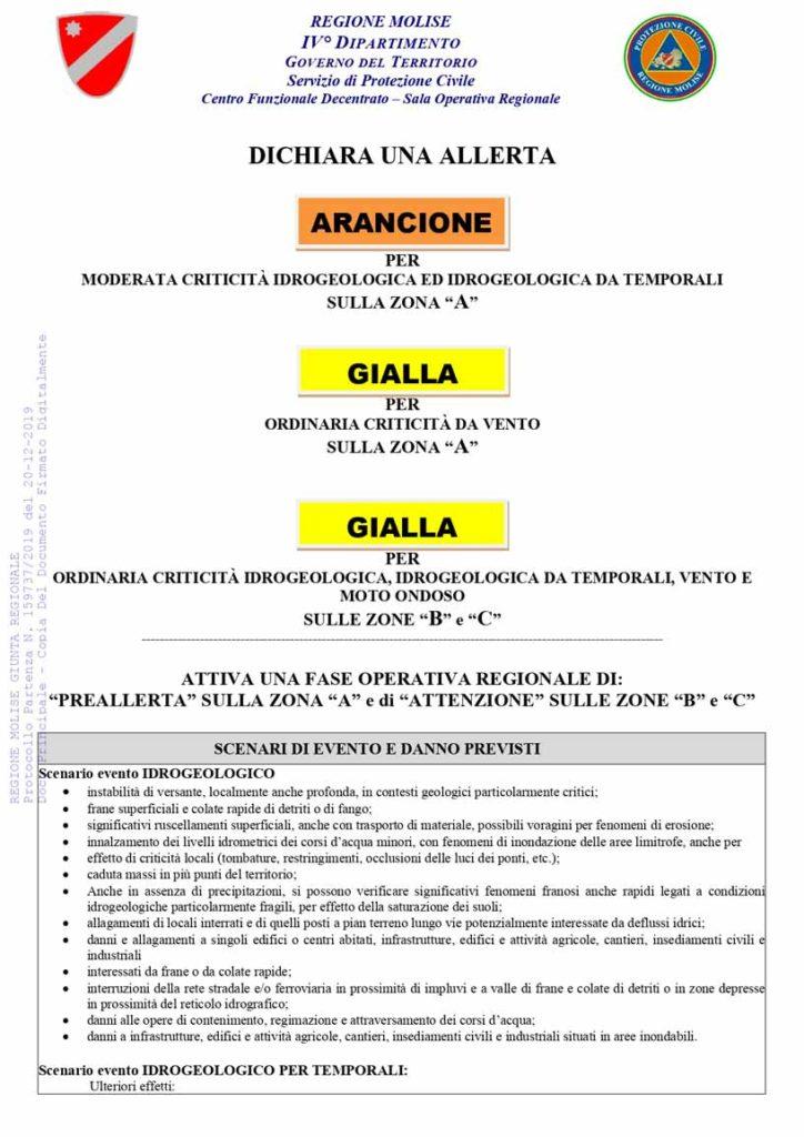 Allerta gialla protezione civile del 21-12