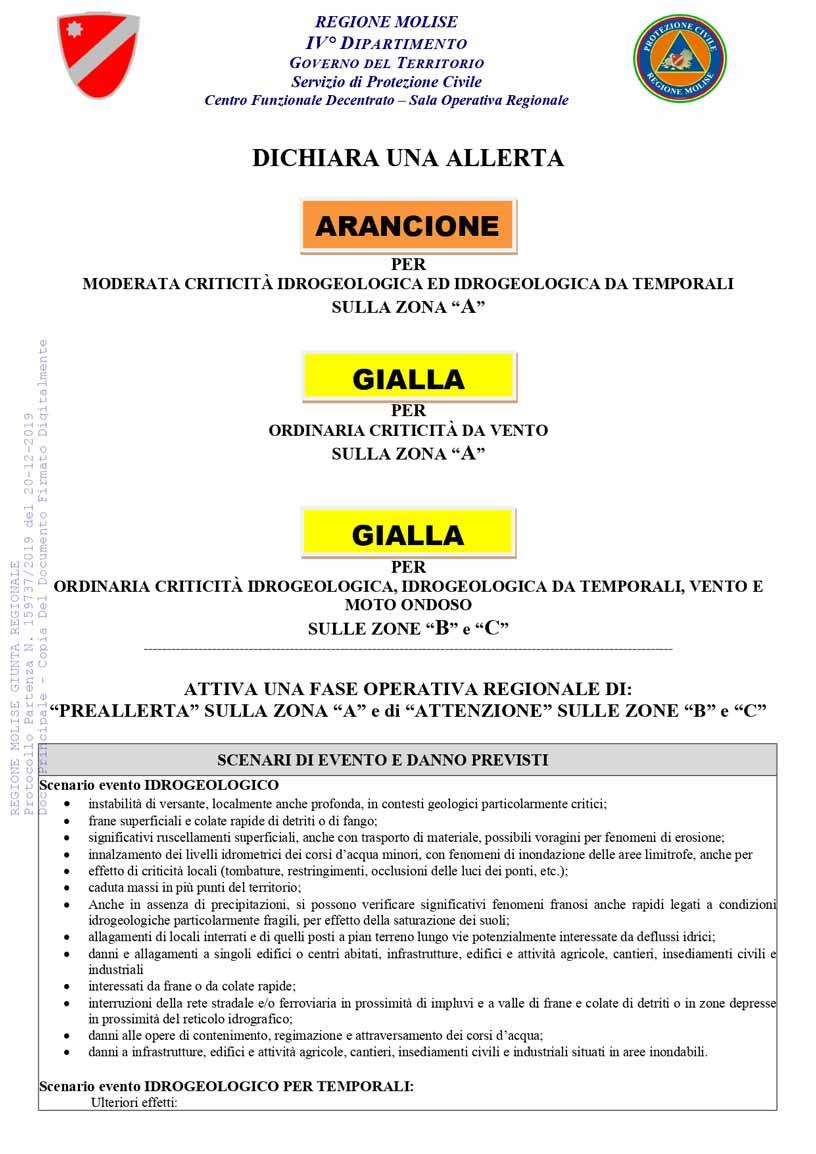 Allerta gialla protezione civile del 21-12 2