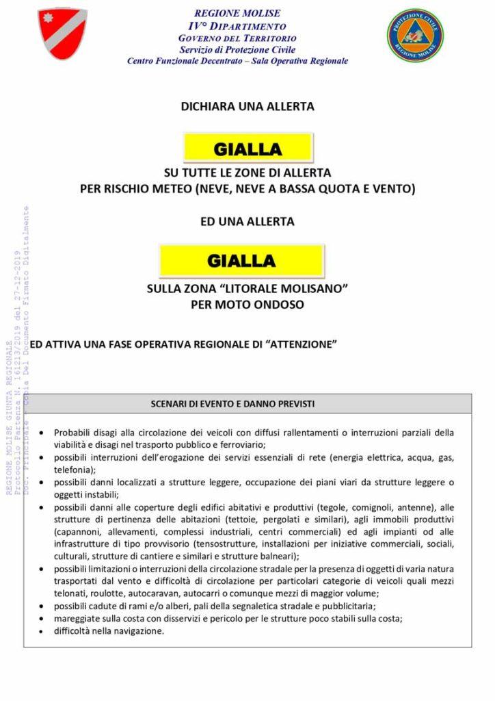Allerta gialla protezione civile del 27-12
