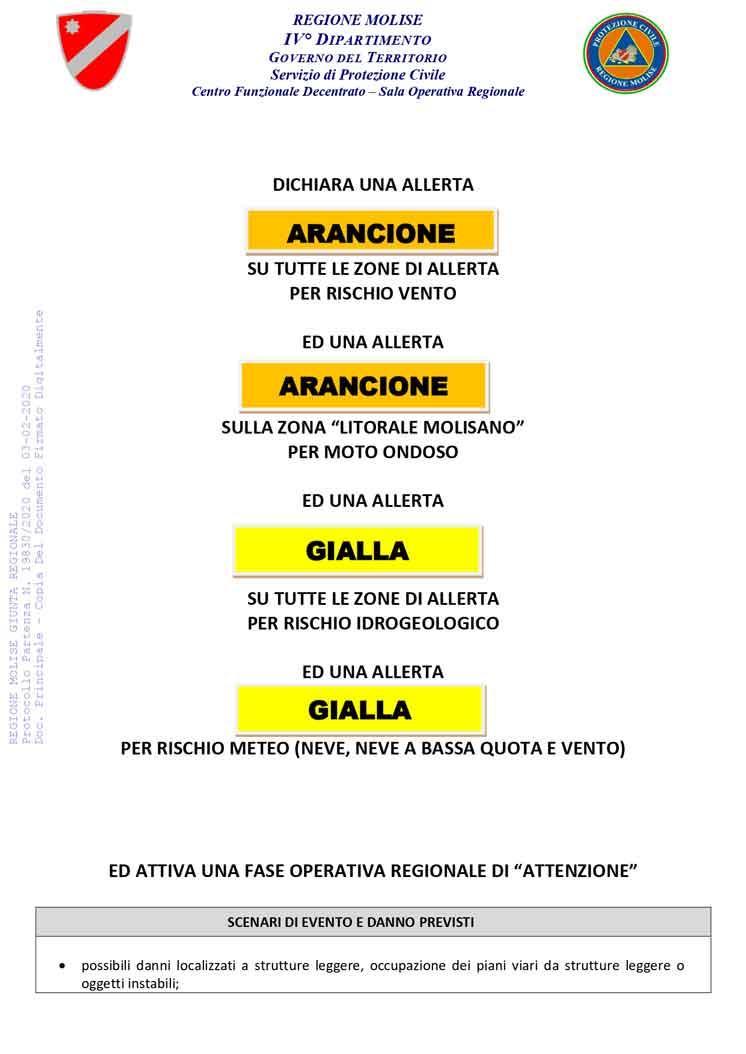 Allerta arancione-gialla protezione civile del 03-02