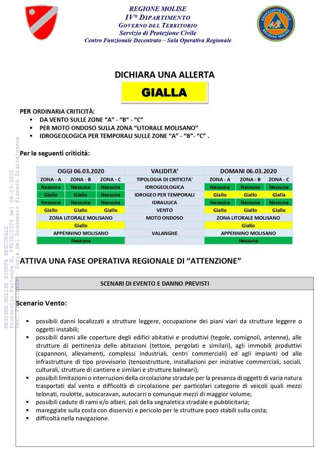 Allerta gialla protezione civile del 06 marzo