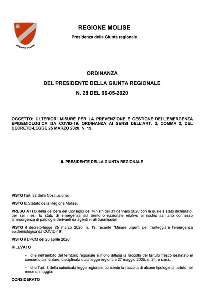 Regione Molise Ordinanza Tartufo